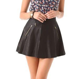 FREE PEOPLE Vegan Leather Mini Skirt Zip Pockets